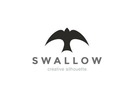 Swallow Logo abstract silhouette design vector template.  Top view bird Logotype concept icon Ilustrace