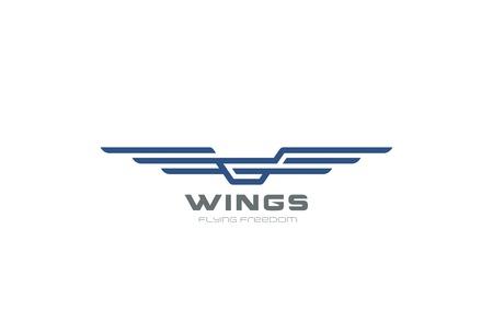 Ailes Logo conception abstraite de modèle de vecteur. icône Aircraft. Moderne concept de Héraldique linéaire volant Compagnies aériennes Logotype
