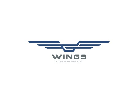 Wings Logo abstract design vector template. Aircraft icon. Modern Heraldic Linear Flying Airlines Logotype concept