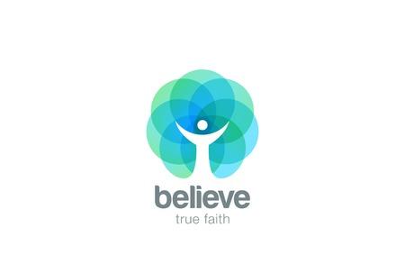 Kościół Wiara Logo pray religia streszczenie wektora projektowania szablonu. Religijne Monk Wiara chrześcijańska koncepcja Logotyp ikona Negatywna przestrzeni stylem Logo