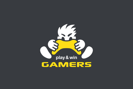 gaming: Player Gamer holding Game-pad Joystick Logo design vector template Negative space style. Play computer video Game with Passion Rage funny Logotype concept
