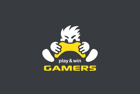Spieler Gamer hält Gamepad Joystick Logo Design-Vorlage Vektor Negative Raum Stil. Spielen Computer-Videospiel mit Leidenschaft Wut lustig Signet Konzept