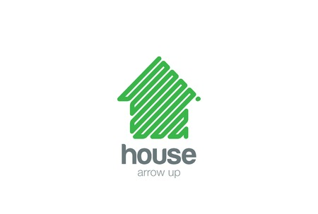 simple house: Eco House Logo abstract design vector template.  Green Arrow up Logotype concept icon Illustration