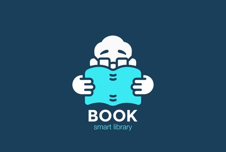 man holding book: Man Holding and Reading Book Education Logo design vector template.  Bookstore Library Logotype concept icon Negative space style