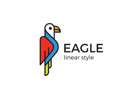 abstract animal: Eagle Logo design Geometric style vector template Linear style.  Funny Gull Bird Logotype concept outline icon.