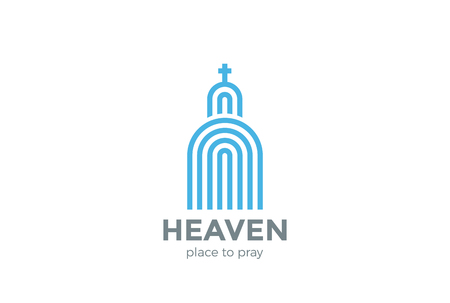 church building: Church Logo Religion abstract design vector template Linear.  Catolic Building Logotype concept outline icon.