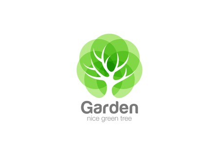 Tree Logo abstract design vector template Negative space style.  Eco Green Organic Oak Plant Logotype concept icon 矢量图像
