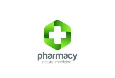 Pharmacy Logo Medicine green cross abstract design vector template.  Eco bio natural Medical clinic infinity loop Logotype concept icon Ilustração