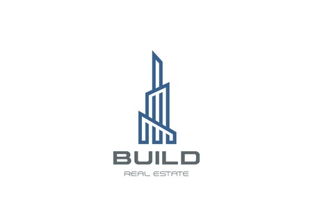 Real Estate Logo Skyscraper Business abstract design vector template Linear.  Commercial property Building construction finance Logotype concept outline icon Illustration
