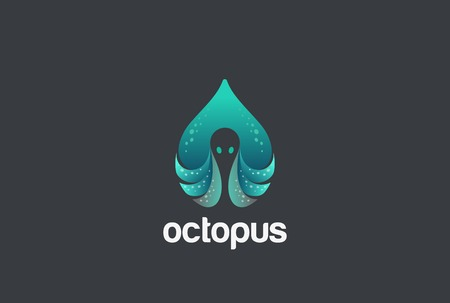 droplets: Octopus in Drop Logo design vector template.  Seafood Droplet shape Restaurant Logotype concept icon