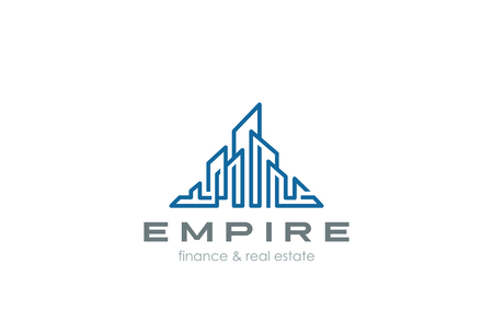Real Estate Logo cityscape Skyscrappers abstract design vector Linear template. Business city Construction Logotype concept icon.