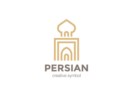 arabic architecture: Persian Arabic Architecture Logo Palace abstract design vector template Linear.  Asia Building Logotype concept outline icon