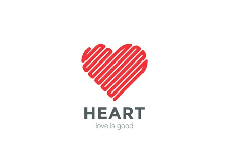 Heart Logo Linear design vector template. Happy Valentines Day concept.  Infinity Love Labyrinth Logotype icon Ilustração