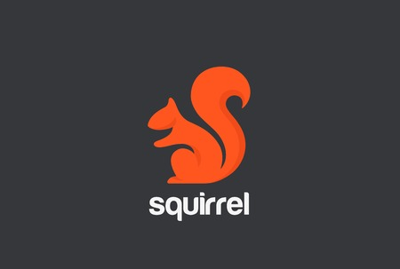 Squirrel Logo silhouette design vector template.  Animal Logotype concept icon