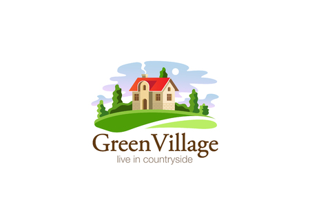 paisaje rural: Casa de Pueblo Modelo de la insignia Inmobiliaria de diseño vectorial. Casa de campo en campo icono Concepto agrícola Granja de logo.
