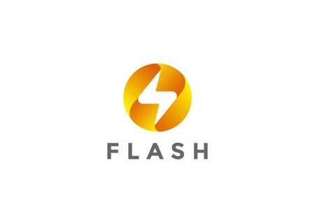 Flash Logo circle abstract design vector template. Lighting bolt icon.  Thunder electricity Power Fast Speed Logotype concept