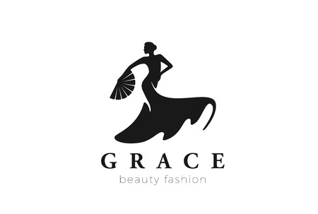 Dancing Woman Logo Fashion Beauty grace design vector template. Female Salon Jewelry Business Logotype concept icon Negative space style  イラスト・ベクター素材