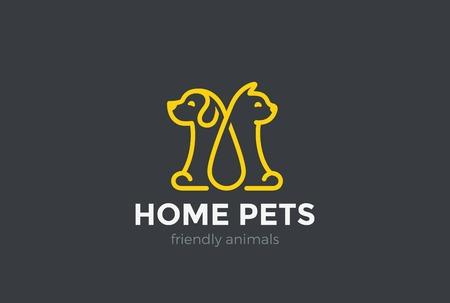 veterinario: Inicio estilo de mascotas logotipo del gato del perro plantilla de diseño vectorial lineal. Clínica Veterinaria animales icono de logo concepto de esquema