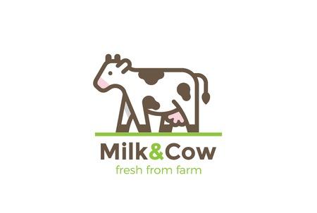 암소 우유 농장 로고 디자인 벡터 서식 파일 선형 스타일입니다. 신선한 유기농 육가공 제품 로고 타입 개념 아이콘