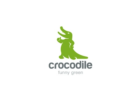 abstract animal: Crocodile Logo abstract friendly funny wild animal zoo design vector template.  Alligator reptile fun Logotype concept icon Illustration
