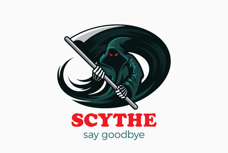 Halloween Tod Dämon Geist mit Scythe Logo abstrakten Design-Vorlage Vektor. Magie-Fee Teufel Geist Horror Charakter Signet Konzept Symbol Standard-Bild - 58312546