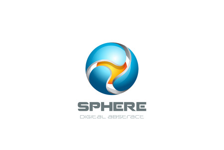 blue sphere: Digital Sphere Technology abstract Logo design vector template.  Web Network Internet creative business Logotype concept circle icon