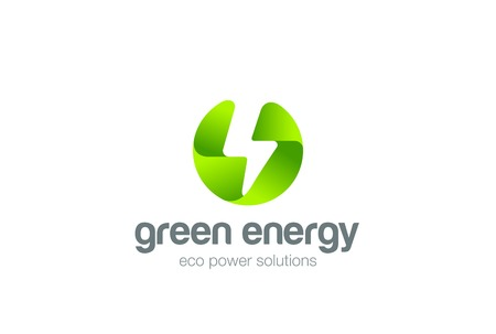 green power: Green Eco Energy Flash  circle abstract design vector template. Lighting bolt icon. Thunder electricity Ecology Power Fast Speed  concept