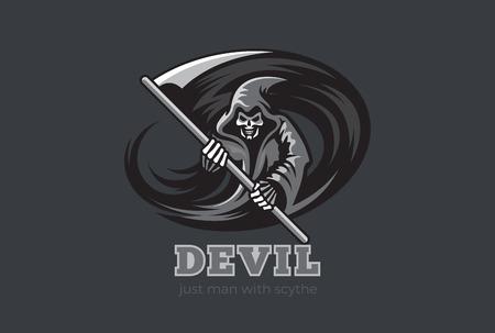demonio: Fantasma de Halloween Muerte Demonio con la plantilla de diseño vectorial resumen de la guadaña. Hada mágica Diablo Espíritu horror icono concepto de personaje