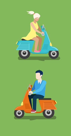 speed dating: People riding moped vector creative flat design illustration set. Young man in casual and woman in dress drive blue orange scooter side view on green background. Illustration