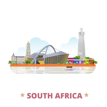 cape of good hope: South Africa country flat cartoon style historic sight showplace vector illustration. World vacation travel Africa African collection. Moses Mabhida Stadium Cape Town City Hall Cape Good Hope Bo-Kaap.