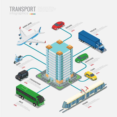 crossover: Isometric transport infographics concept vector template. Flat style vehicles Airplane sedan truck bike minivan taxi crossover bus tram with city building 3d illustration set.