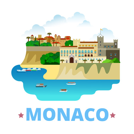 europe travel: Monaco country design template. Flat cartoon style historic sight showplace web site vector illustration. World vacation travel sightseeing Europe European collection. Princes Palace Monaco City. Illustration