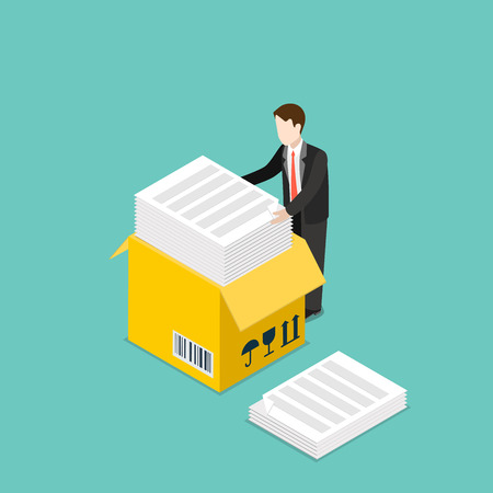 sheet of paper: Isometric Office routine paper work business concept. Flat 3d isometry style web site vector illustration. Creative people collection. Man huge yellow box sheet document printed barcode fragile. Illustration