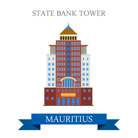 sightseeings: State Bank Tower in Mauritius. Flat cartoon style historic sight showplace attraction web site vector illustration. World countries cities vacation travel sightseeing Africa island nation collection.