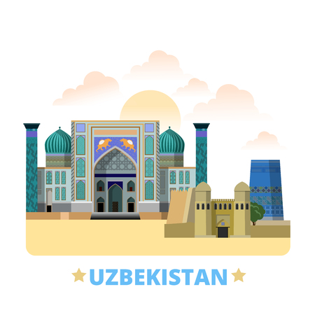 Uzbekistan country flat cartoon style historic sight showplace web vector illustration. World vacation travel sightseeing Asia Asian collection. Bibi Khanym Mosque Samarkand Ark Bukhara Kalta Minor. Illustration