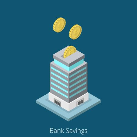 building security: Isometric Bank Savings business concept. Flat 3d isometry web site conceptual vector illustration. Creative people collection. Banking security safety money box guarantees fund coins building. Illustration
