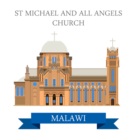 sites: St Michael and All Angels Church in Blantyre Malawi. Flat cartoon style historic sight showplace attraction web site vector illustration. World countries cities vacation travel sightseeing collection Illustration