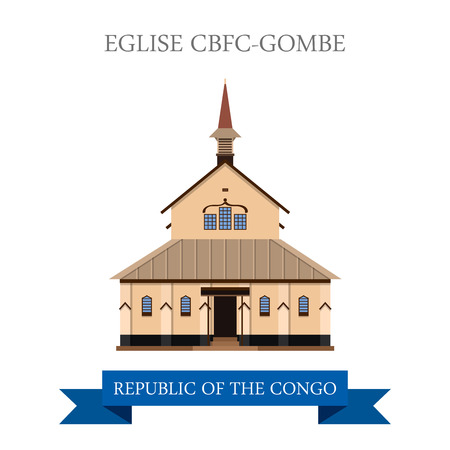 sightseeings: Eglise CBFC-Gombe in Kinshasa in Republic of the Congo. Flat cartoon style historic sight showplace attraction web site vector illustration. World countries vacation travel sightseeing collection Illustration