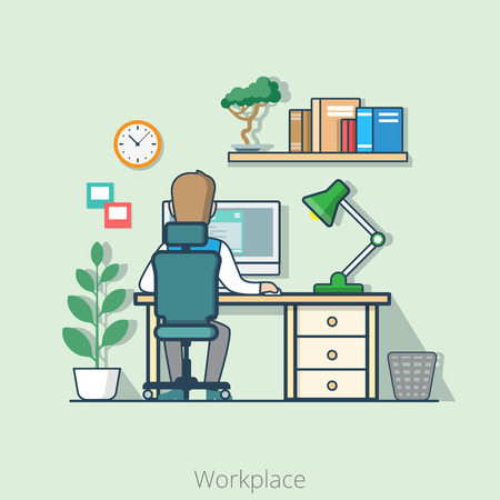 rear view: Linear flat line art style business workplace office interior desk concept. Businessman rear back view table computer lamp bookshelf plant. Conceptual businesspeople vector illustration collection.