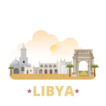 ancient roman: Libya country magnet design template. Flat cartoon style historic sight showplace web site vector illustration. World vacation travel sightseeing Africa African collection. Ghadames Leptis Magna.