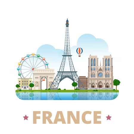 France country design template. Flat cartoon style historic sight showplace web vector illustration. World vacation travel Europe European collection. Eiffel Tower Notre Dame de Paris Arc de Triomphe.