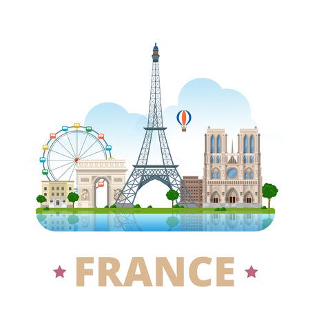 France country design template. Flat cartoon style historic sight showplace web vector illustration. World vacation travel Europe European collection. Eiffel Tower Notre Dame de Paris Arc de Triomphe.