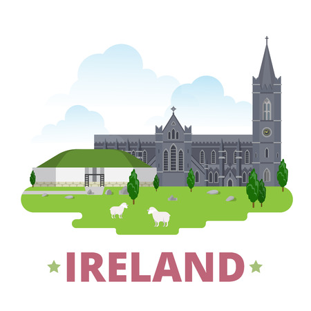 irish cities: Ireland country design template. Flat cartoon style historic sight showplace web site vector illustration. World vacation travel Europe European collection. St Patricks Cathedral Bru na Boinne Palace.