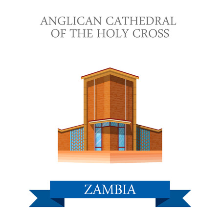 holy place: Anglican Cathedral of the Holy Cross in Zambia. Flat cartoon style historic sight showplace attraction web site vector illustration. World countries cities vacation travel sightseeing collection.