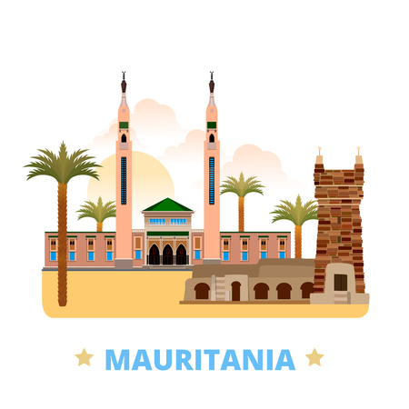 Mauritania country design template. Flat cartoon style historic sight showplace web site vector illustration. World vacation travel sightseeing Africa African collection. Chinguetti Saudi Mosque. 일러스트