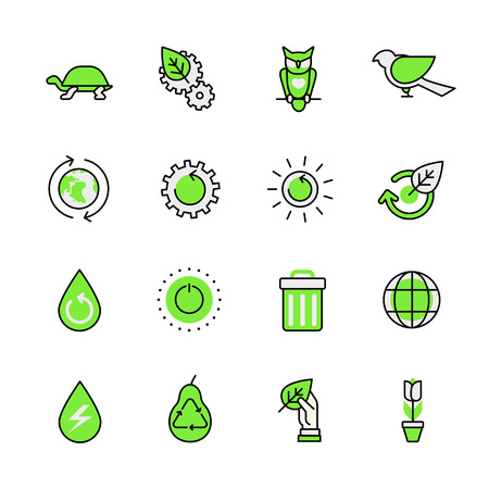 aplication: Green planet nature ecology circulation links animal birds lineart flat vector icon set. Web site interface elements color line art mobile app aplication objects. Line-art icons collection. Illustration
