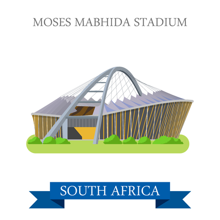 points of interest: Moses Mabhida Stadium in Durban in South Africa. Flat cartoon style historic sight showplace attraction web site vector illustration. World countries vacation travel sightseeing Africa collection.