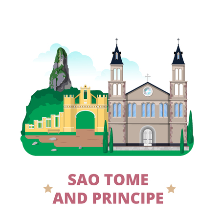 cao: Sao Tome and Principe countryflat cartoon style historic sight showplace web site vector illustration. World vacation travel Africa African collection. The Cathedral Roca Belo Monte Pico Cao Grande.