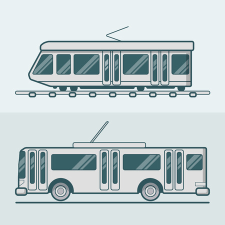 trolleybus: Tram tramway trolley trolleybus road rail electric eco friendly line art lineart transport set. Linear multicolor stroke outline flat style vector icons. Monochrome icon collection.