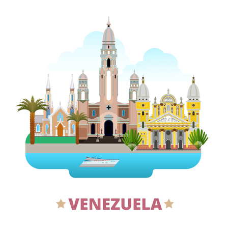 Venezuela country flat cartoon style historic sight web site vector illustration. World travel South America collection. National Pantheon of Venezuela La Chiquinquira Church Basilica Virgen Del Vall. Ilustração